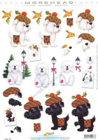 Morehead Christmas Dogs Dressed In Scottish Tartan 3D Decoupage Sheet